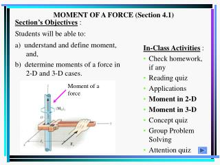 MOMENT OF A FORCE (Section 4.1)