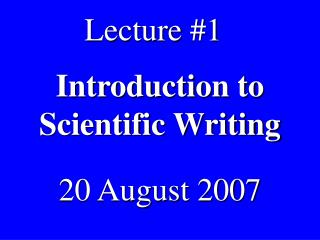 Introduction to Scientific Writing