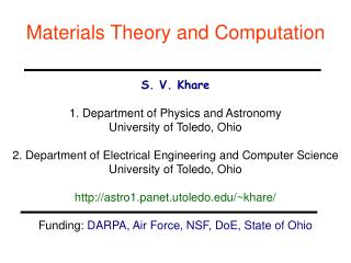 Materials Theory and Computation