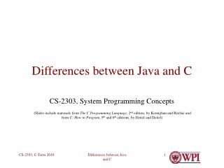 Differences between Java and C