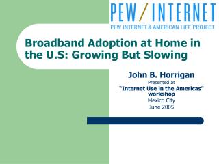 Broadband Adoption at Home in the U.S: Growing But Slowing