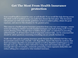 Get The Most From Health Insurance protection