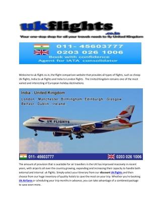 Flights To London From Mumbai and Delhi