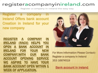 Register a company in Ireland Offers Bank Account Creation i