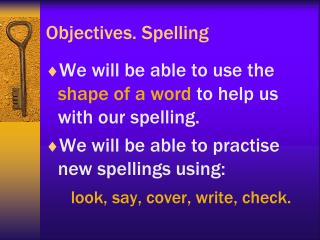 Objectives. Spelling