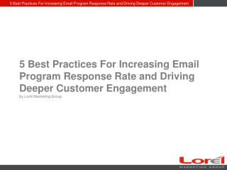 Increasing Email Program Response Rate