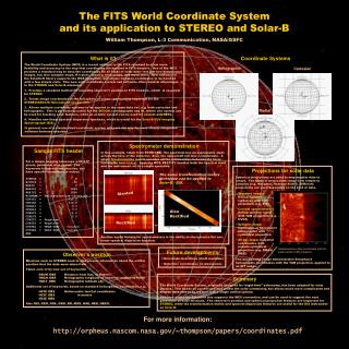 The FITS World Coordinate System and its application to STEREO and Solar-B William Thompson, L-3 Communication, NASA