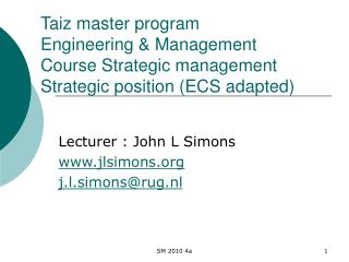 Taiz master program  Engineering  Management  Course Strategic management Strategic position ECS adapted