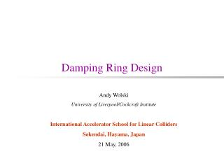 Damping Ring Design
