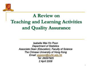 A Review on  Teaching and Learning Activities  and Quality Assurance