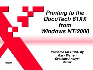 Printing to the DocuTech 61XX from Windows NT/2000