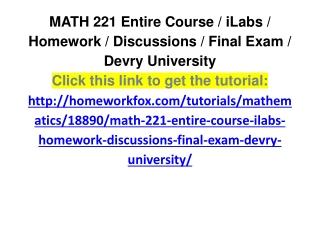 MATH 221 Entire Course