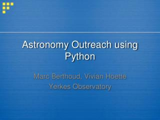Astronomy Outreach using Python