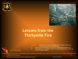 Lessons from the Thirtymile Fire