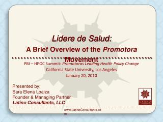 Presented by: Sara Elena Loaiza  Founder & Managing Partner Latino Consultants, LLC