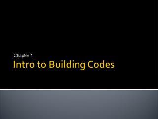 Intro to Building Codes