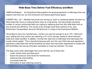 Wide-Base Tires Deliver Fuel Efficiency and More