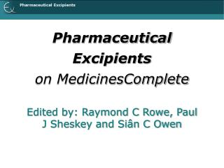 Pharmaceutical Excipients on MedicinesComplete