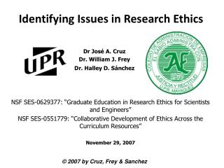 Identifying Issues in Research Ethics