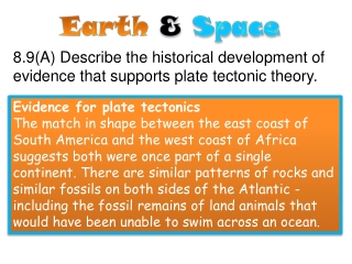 8.9(A) Describe the historical development of evidence that supports plate tectonic theory.
