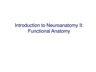 Introduction to Neuroanatomy II: Functional Anatomy