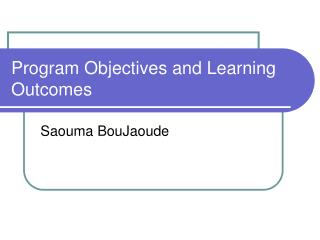 Program Objectives and Learning Outcomes