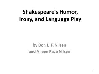 Shakespeare's Humor, Irony, and Language Play