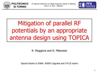 Mitigation of parallel RF potentials by an appropriate antenna design using TOPICA