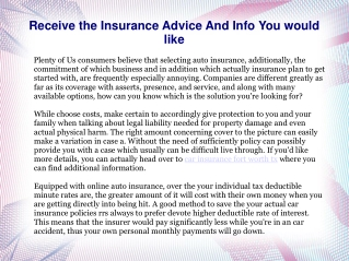 Receive the Insurance Advice And Info You would like
