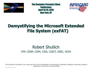 The Computer Forensics Show Conference April 19-20, 2010 New York, NY