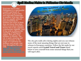 Spell Binding Nights in Philippine City Manila on very cheap