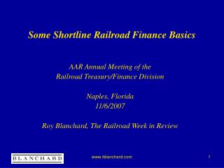 Some Shortline Railroad Finance Basics