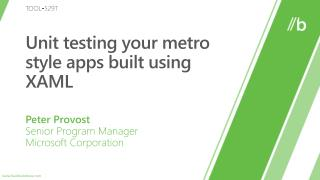 Unit testing your metro style apps built using XAML
