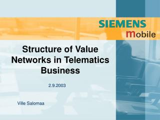 Structure of Value Networks in Telematics Business