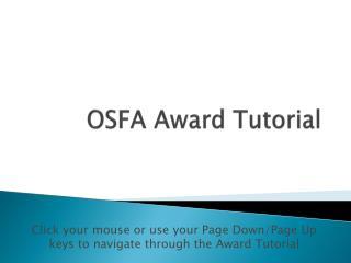 OSFA Award Tutorial