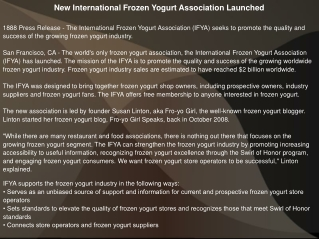 New International Frozen Yogurt Association Launched