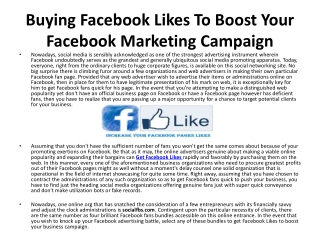 Buying Facebook Likes To Boost Your Facebook Fan Page