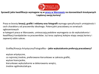 Praca w Warszawie