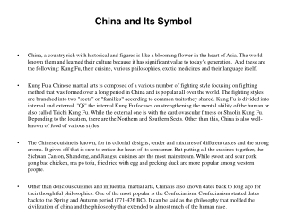 China and Its Symbol