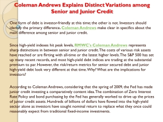Coleman Andrews Explains Distinct Variations among Senior an