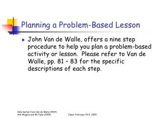 Planning a Problem-Based Lesson