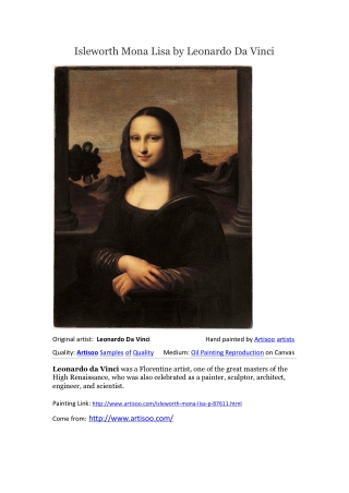 Isleworth Mona Lisa by Leonardo Da Vinci