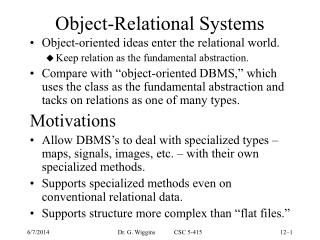Object-Relational Systems