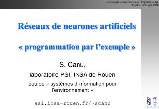 R seaux de neurones artificiels    programmation par l exemple