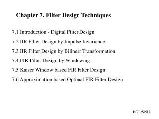 Chapter 7. Filter Design Techniques