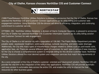 City of Olathe, Kansas chooses NorthStar CIS and Customer