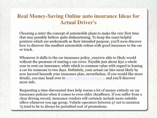 Real Money-Saving Online auto insurance Ideas for Actual Dri