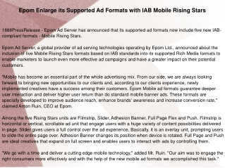 Epom Enlarge its Supported Ad Formats with IAB Mobile Rising
