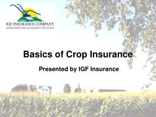 Basics of Crop Insurance