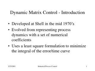 Dynamic Matrix Control - Introduction